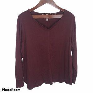 Cacique Burgundy Red V-neck Long Sleeve Top 22/24